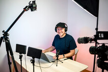 Gamer, Streamer, Or Youtuber Streaming And Recording In His Studio