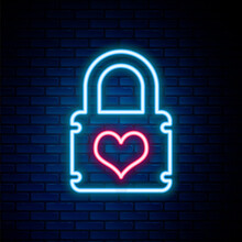 Glowing Neon Line Padlock With Heart Icon Isolated On Brick Wall Background. Locked Heart. Love Symbol And Keyhole Sign. Colorful Outline Concept. Vector.