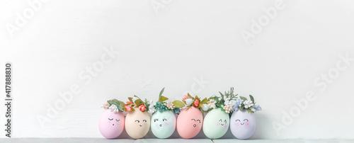 Fotografie, Obraz decorative easter eggs on a light wooden background