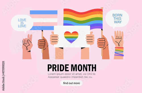 Fotografia, Obraz People hold signs, banner and placards with lgbt rainbow and transgender flag during pride month celebration against violence, descrimination, human rights violation