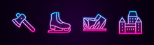 Set Line Wooden Axe, Skates, Royal Ontario Museum And Chateau Frontenac Hotel. Glowing Neon Icon. Vector.