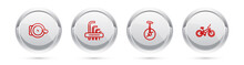 Set Line Bicycle Bell, Tool Allen Keys, Unicycle Or One Wheel Bicycle And . Silver Circle Button. Vector.