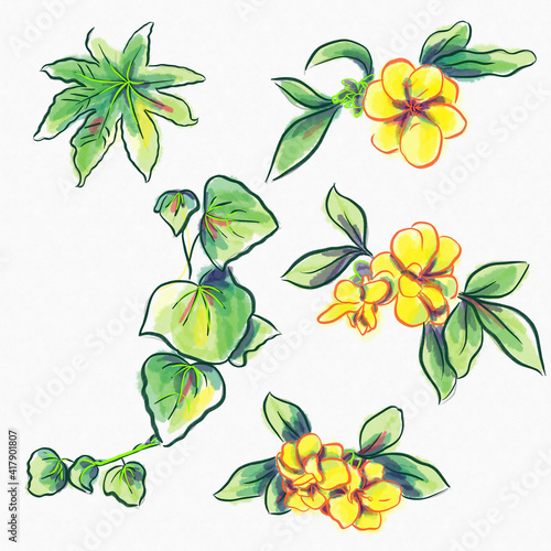 Canvas watercolor greeting card elements exotic flowers and leaves set of illustration
