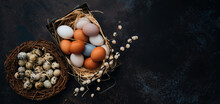 Background With Easter Eggs In The Nest And Vintage Iron Box On Rustic Wooden Background Easter Background With Eggs And Spring Branches.Top View With Copy Space.
