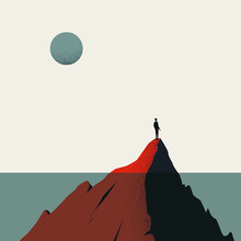 Hope Vector Concept With Man Standing On Underwater Mountain. Symbol Of New Beginning, Future.