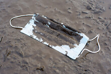 Discarded Medical Mask In The Mud