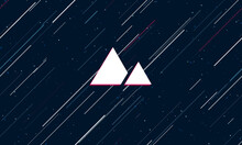 Large White Mountains Symbol Framed In Red In The Center. The Effect Of Flying Through The Stars. Seamless Vector Illustration On A Dark Blue Background With Stars And Slanted Lines