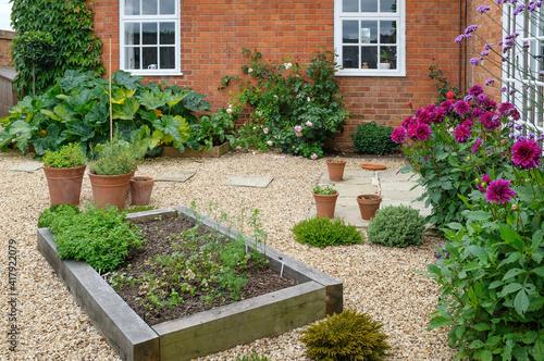 Billede på lærred Landscaped courtyard garden with raised beds, UK