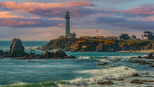 Clouds Move Out On The Coastline Shining The Sunlight On The Lighthouse And Cliffs And The Rocks On The Northern Coast In Pescadero , Ca.