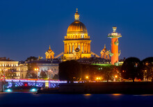 St. Isaac's Cathedral Dome, Rostral Column And Palace Bridge At Night, Saint Petersburg, Russia