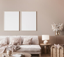Mock Up Frame In Modern Interior Background, Neutral Wooden Living Room With Dried Plant And Home Decor, 3d Render