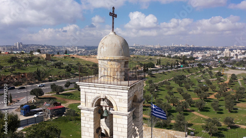 Canvas Print Mar elias monastery and Jerusalem in background, Aerial view drone view over Gre