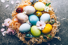 Easter Eggs Dyed With Natural Ingredients From Red Cabbage, Onion, Spinach, Berries, Turmeric, Coffee. Homemade Naturally Dyed Eggs. Beautiful Setting With Eggs In Nest And Spring Flowers.