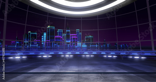 New retro wave Virtual set backdrop. Ideal for tv shows, presentations or events. A 3D rendering, suitable on VR tracking system sets, with green screen
