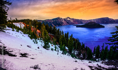 Canvas Print Sunset Views on Crater Lake, Crater Lake National Park, Oregon