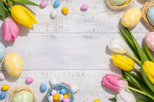 Happy Easter Background With Bunnies, Eggs, Candies Flowers