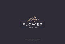 Minimalist Flower Rose Logo Design Template. Luxury Icon Floral With Line Art Style
