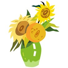 Vector Illustration Of Original Painting  By Van Gogh Sunflowers. Vector Image Isolated On A White Background.