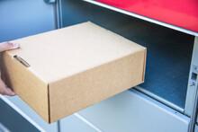 Sending A Parcel With Self-service Post Automat