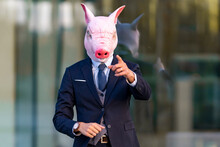Male Professional Gesturing Wearing Pig Mask While Standing Against Glass