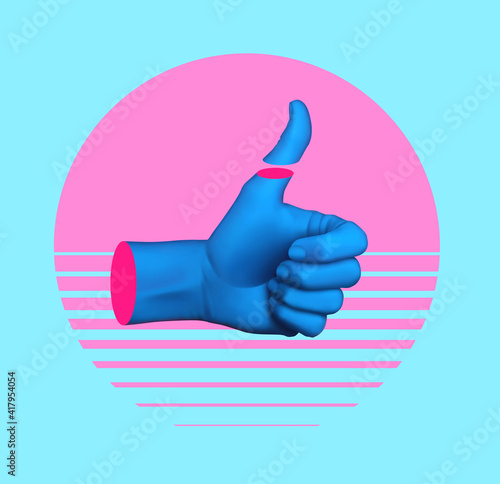 Contemporary art collage with hand showing thumb up. Minimal art, 3d illustration.