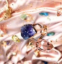 Gem Stones Gold Rings  Yellow Pink Blue Green Stylish  Handmade Jewelry For Women