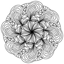 Easy Mandala Like Flower Or Star, Basic And Simple Mandalas Coloring Book For Adults, Seniors, And Beginner. Digital Drawing. Floral. Flower. Oriental. Book Page. Vector.
