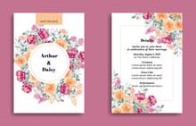 Yellow And Fuchsia Watercolor Flower Wedding Invitation Cards Set Design In Premium Editable Vector