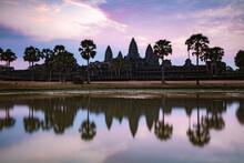 Angkor Wat Temples At Sunrise, Siem Reap, Cambodia