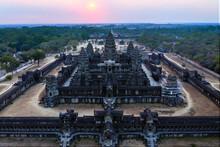 Aerial View Of Angkor Wat Temple At Sunset, Cambodia