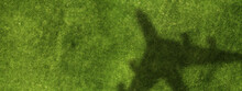 Airplane Shadow On Green Field . Mixed Media