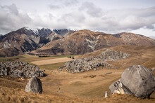 Scenic View Of Hills And Rock Formations In The Castle Hill Conservation Area Or Kura Tawhiti