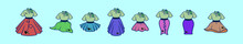Set Of Poodle Skirt Cartoon Icon Design Template With Various Models. Vector Illustration Isolated On Blue Background