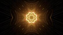 Golden Glowing Floral Kaleidoscope Pattern Background
