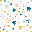 Dinosaur footprint tracks. Minimal color seamless pattern. Background with paw, claw predator. Dinosaur footprint seamless pattern perfect for textile, wrap and wallpaper and design.
