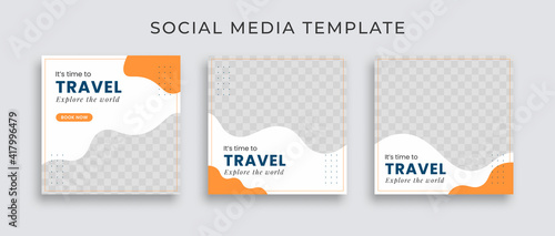 Obraz Editable template post for social media ad. web banner ads for travel promotion .design with white, blue and yellow color. - fototapety do salonu