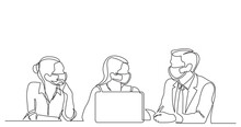 Continuous Line Drawing Of Three Employees Talking About Work Wearing Face Masks
