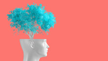 The Concept Of Self-knowledge, Meditation And Personal Growth. The White Head Of A Woman In The Form Of A Flower Pot From Which A Tree Grows. 3d Illustration