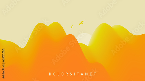 Landscape with mountains and sun. Sunrise. Mountainous terrain. Abstract background. Vector illustration. - fototapety na wymiar