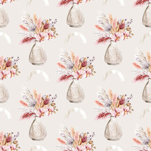Pattern Seamless, Paper With Watercolor Flowers Orchid, Repeat Floral Texture, Background Hand Drawing. Perfectly For Wrapping Paper, Wallpaper, Fabric, Texture And Other Printing.