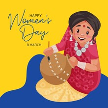 Happy Women's Day Banner Design. Indian Woman Is Painting On The Pot With Her Hand. Vector Graphic Illustration.