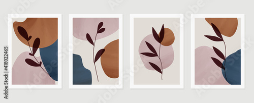 Fototapeta Botanical watercolor wall art vector set. Earth tone background foliage line art drawing with abstract shape.  Abstract Plant Art design for wall framed prints, canvas prints, poster, home decor. obraz