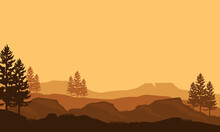 Stunning Silhouette Of Mountains And Cypress Trees At Dusk In The Evening. Vector Illustration