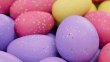 Multicolored Easter Egg Background. Beautiful Easter Wallpaper With, Speckled Yellow, Pink And Purple Eggs. 3D Render