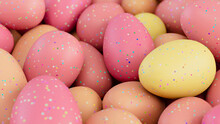 Multicolored Easter Egg Background. Beautiful Easter Wallpaper With, Speckled Orange, Pink And Yellow Eggs. 3D Render