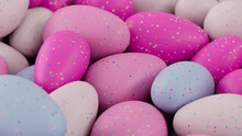 Multicolored Easter Egg Background. Beautiful Easter Wallpaper With, Speckled Pink, White And Blue Eggs. 3D Render