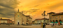Montagnana, Italy - August 6, 2017: The Main Square Of The City .