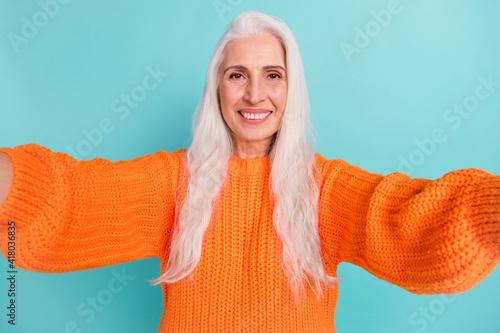 Fotografija Photo of nice happy cheerful old lady make camera selfie smile positive isolated
