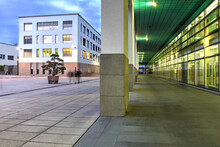 Night Scene On The Campus Of EPFL (Swiss Federal Institute Of Technology Lausanne), Lausanne, Switzerland