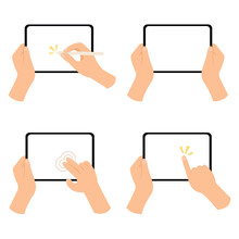 Set Of Hand Holding Blank Screen Tablet